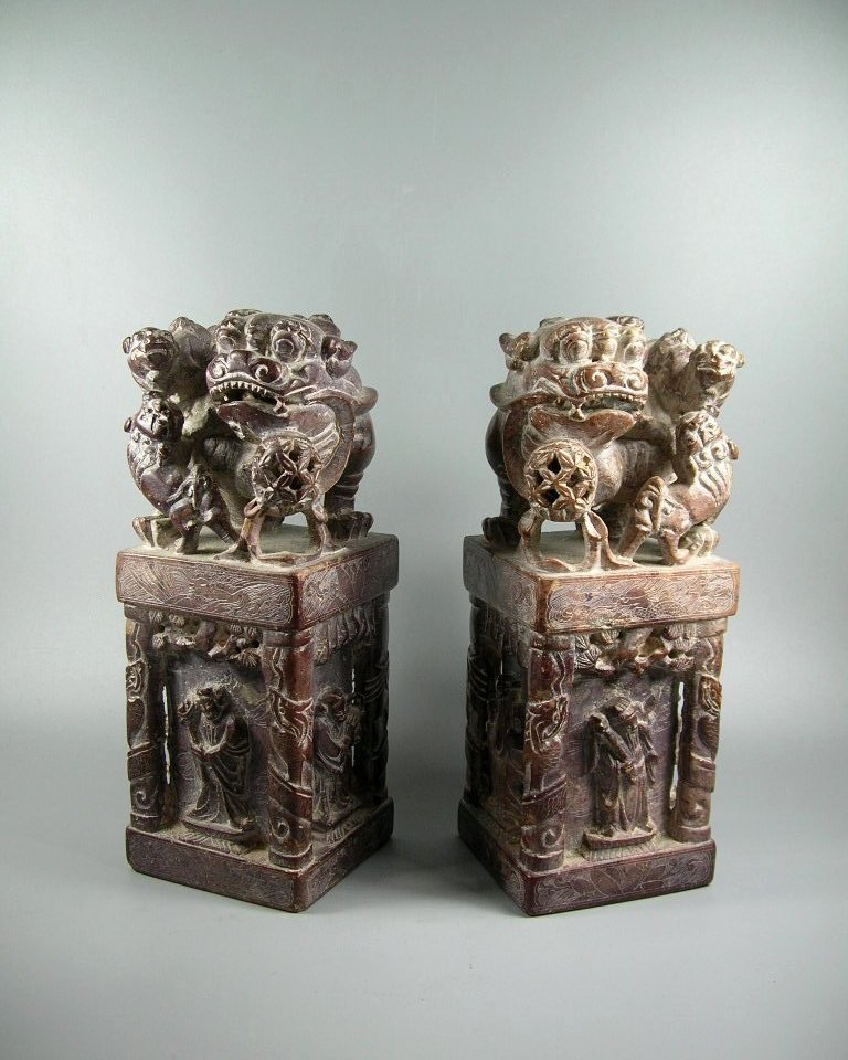 Unusual Pair of Large Soapstone Seals or Bookends
