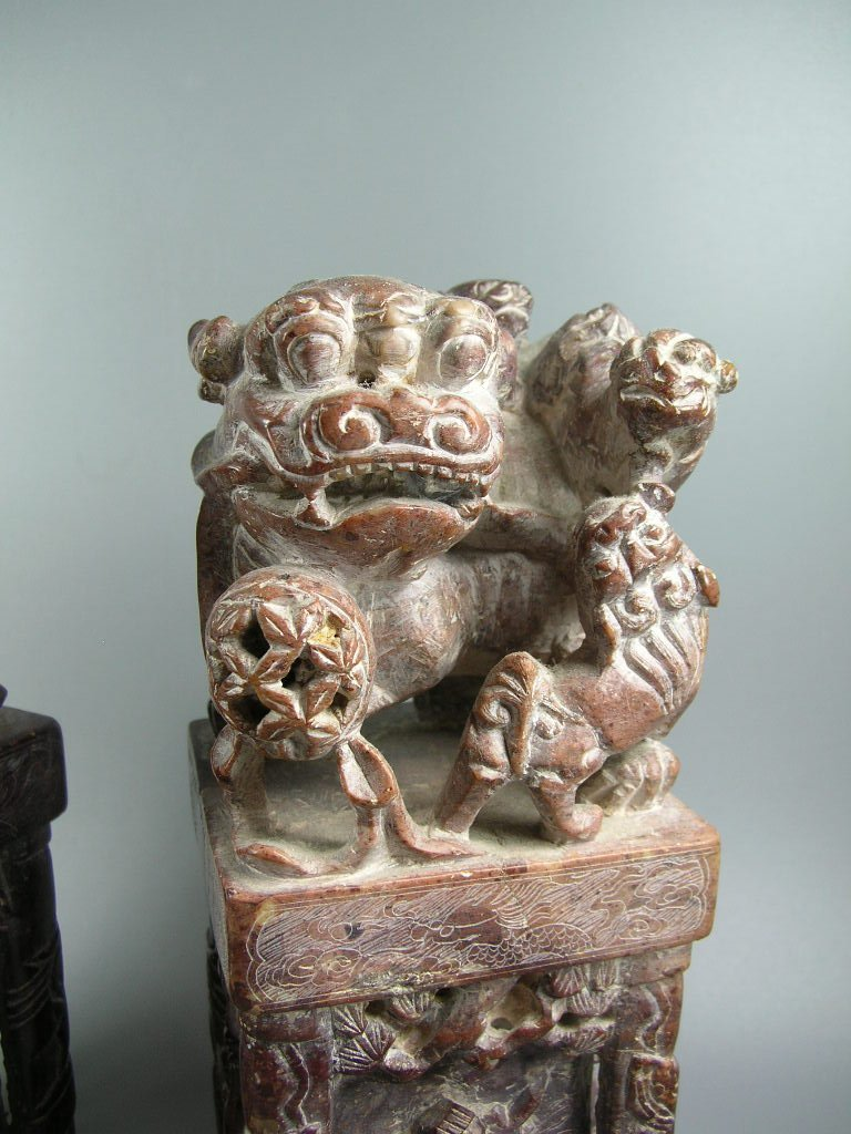 Unusual Pair of Large Soapstone Seals or Bookends - 2