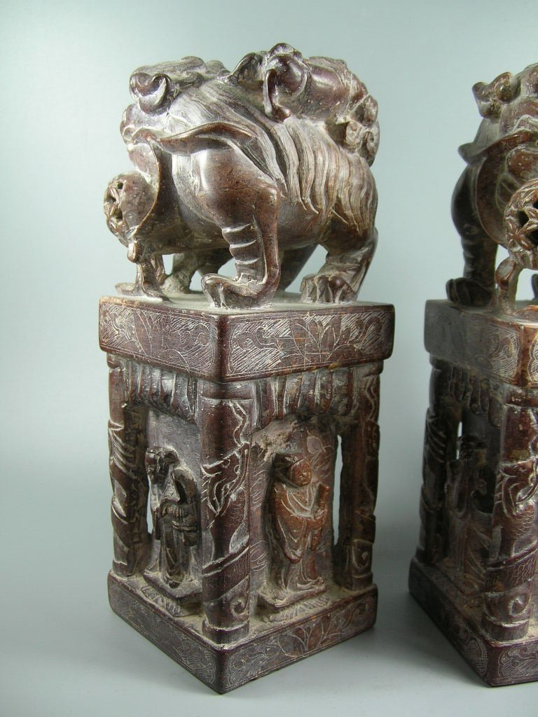 Unusual Pair of Large Soapstone Seals or Bookends - 4