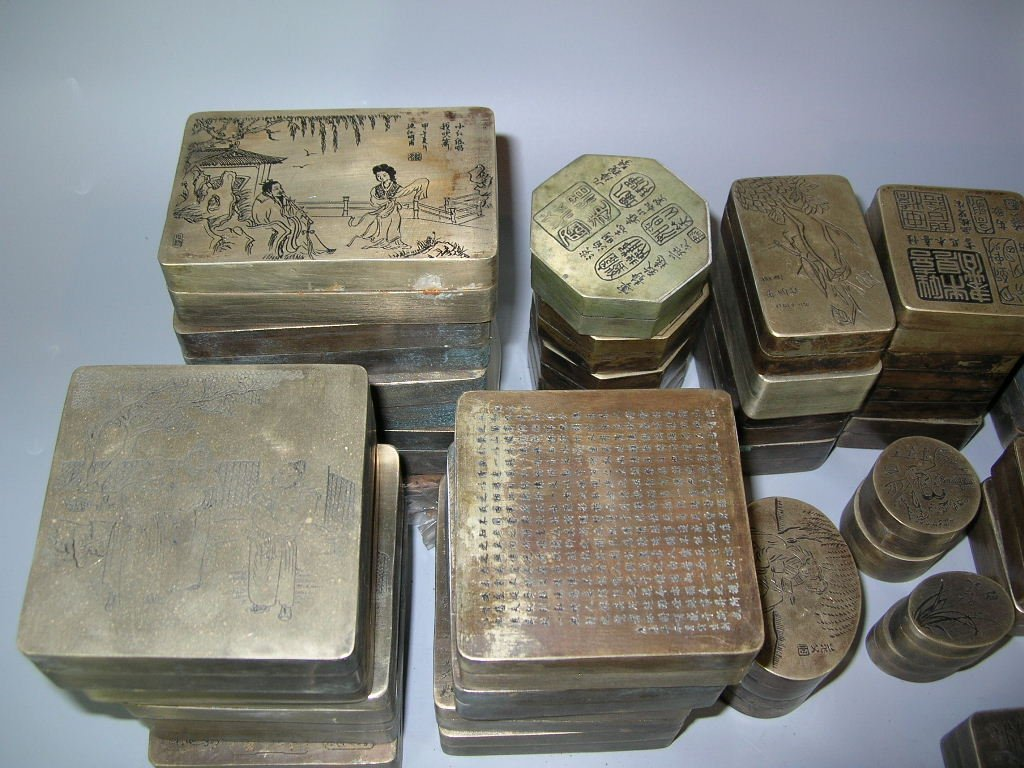 Huge Group of 61 Chinese Bronze Ink Boxes - 4
