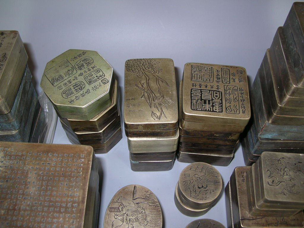 Huge Group of 61 Chinese Bronze Ink Boxes - 5