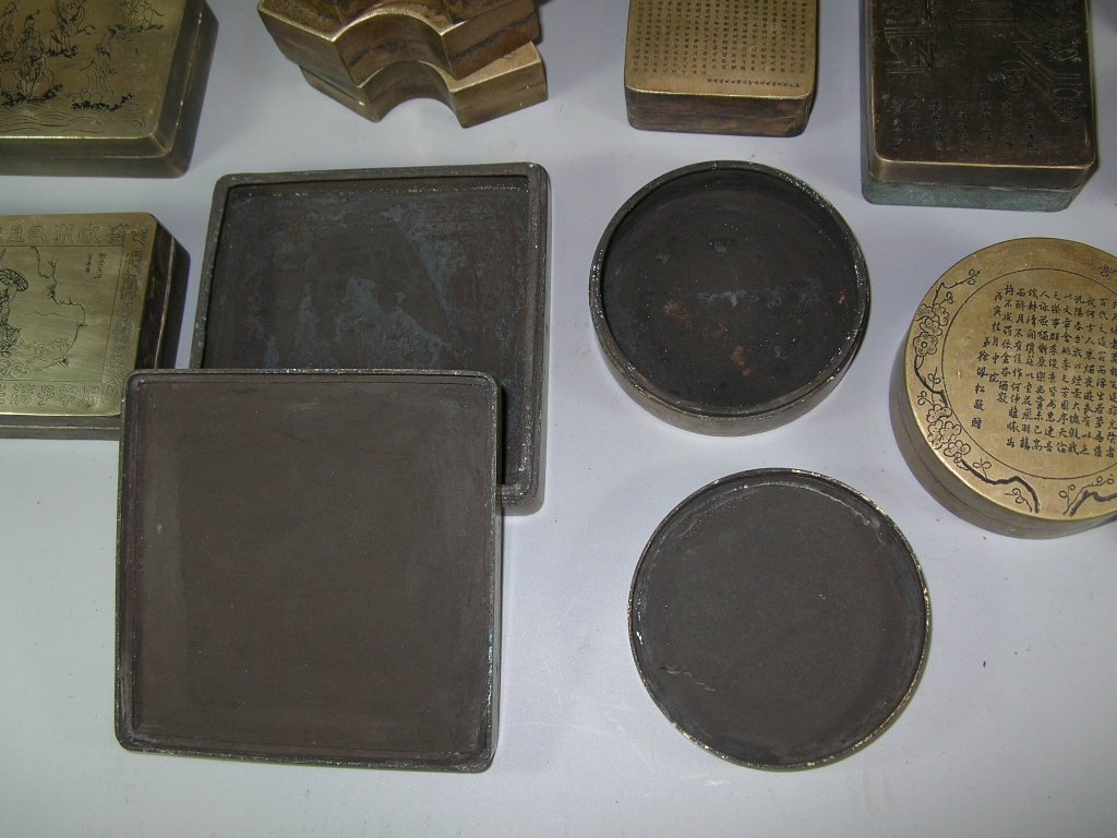 Huge Group of 61 Chinese Bronze Ink Boxes - 7