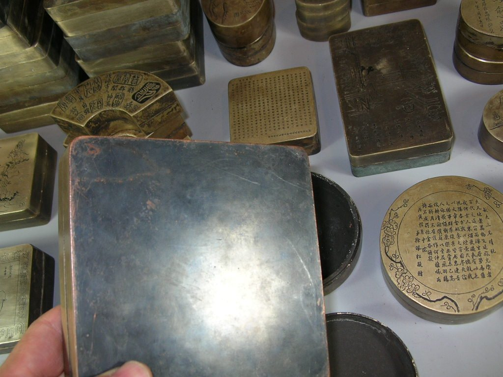 Huge Group of 61 Chinese Bronze Ink Boxes - 9