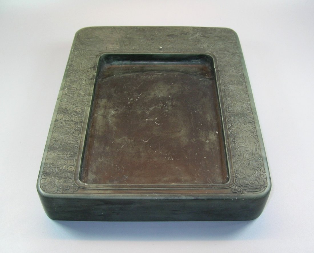 Unusual Large Antique Green-Duan Inkstone with - 3