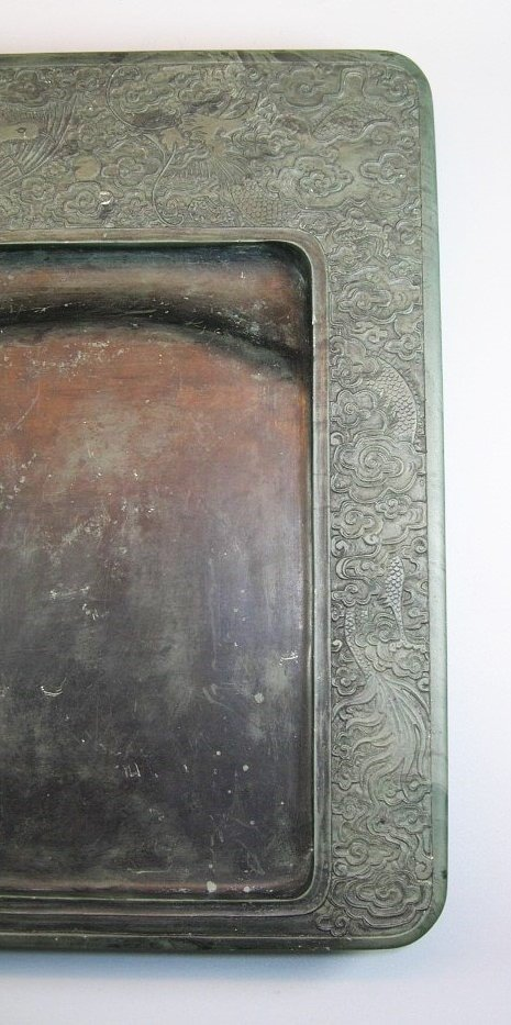 Unusual Large Antique Green-Duan Inkstone with - 6