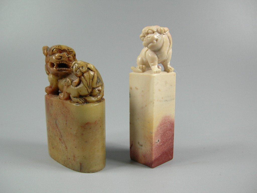 Two Antique Chinese Soapstone Shoushan Seal Stones - 2