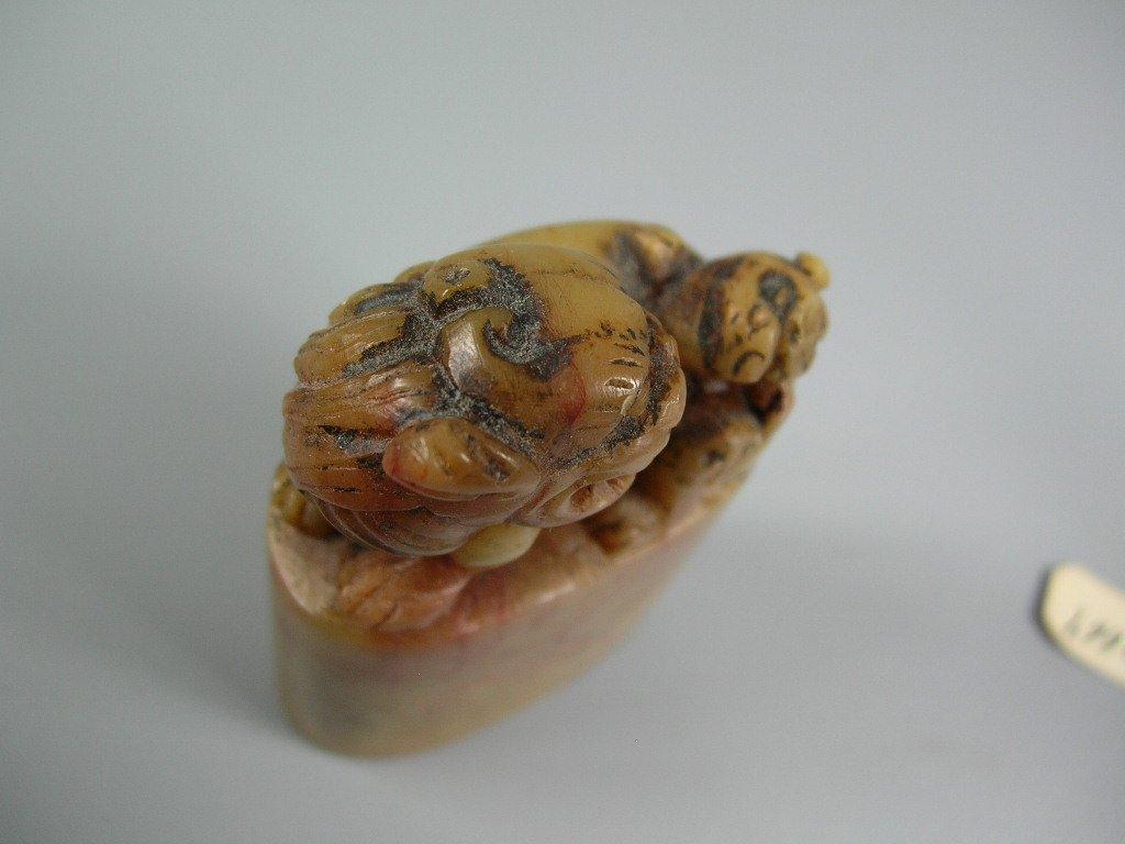 Two Antique Chinese Soapstone Shoushan Seal Stones - 6