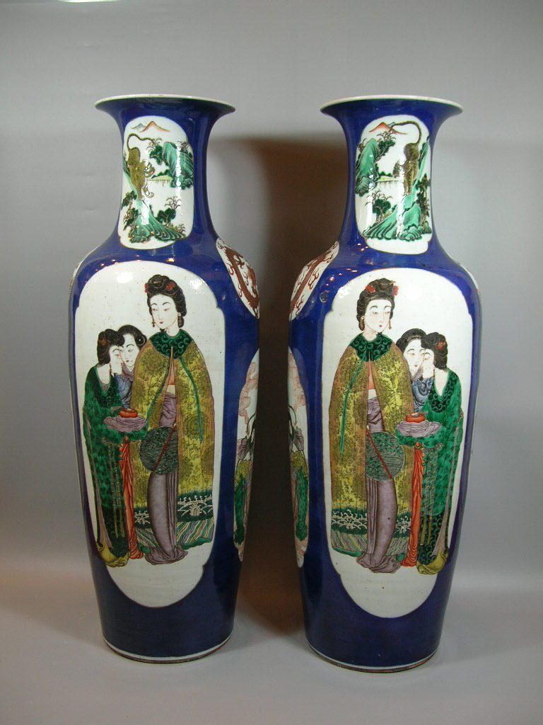 Rare and Unusual Large Pair of Antique Famille Verte