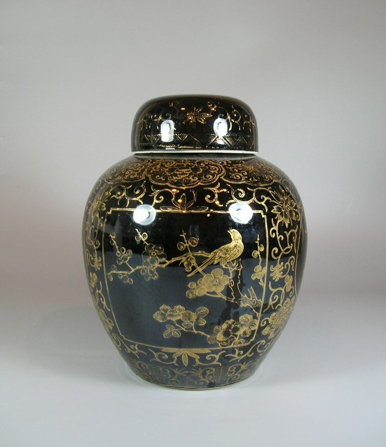 19th Century Gilt and Black Ovoid Jar with Cover