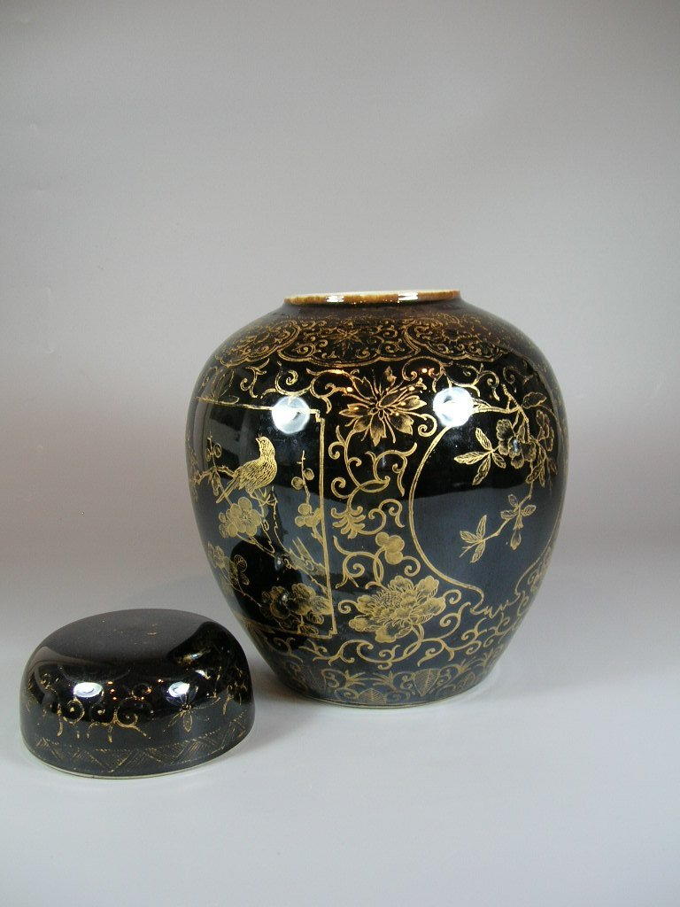 19th Century Gilt and Black Ovoid Jar with Cover - 4