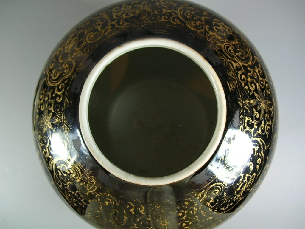 19th Century Gilt and Black Ovoid Jar with Cover - 9