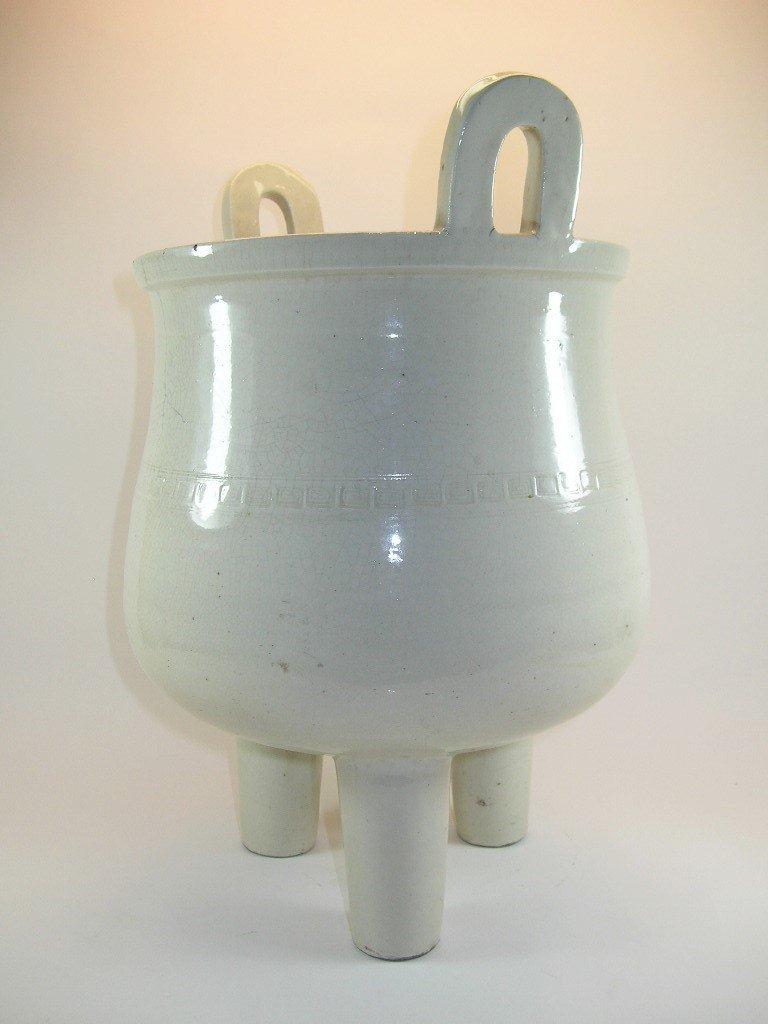 Huge Chinese White Glazed Tripod Censer Marked - 2