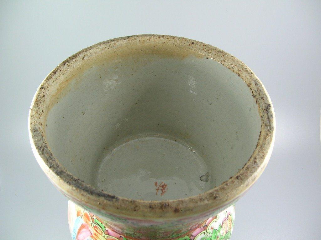 Large Antique Chinese Rose-Medallion Gu-Form Vase - 10