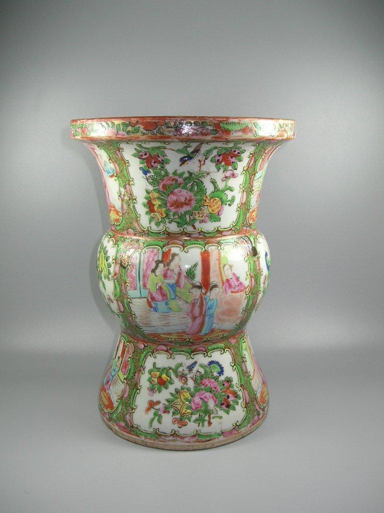 Large Antique Chinese Rose-Medallion Gu-Form Vase