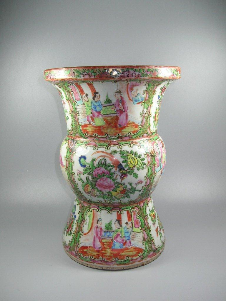 Large Antique Chinese Rose-Medallion Gu-Form Vase - 2