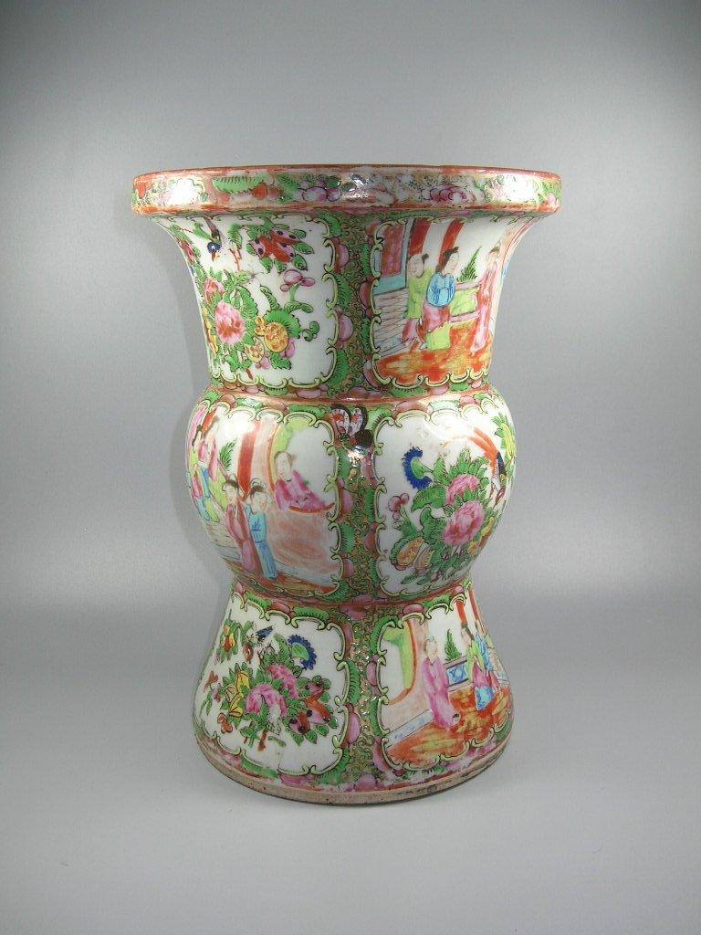 Large Antique Chinese Rose-Medallion Gu-Form Vase - 3