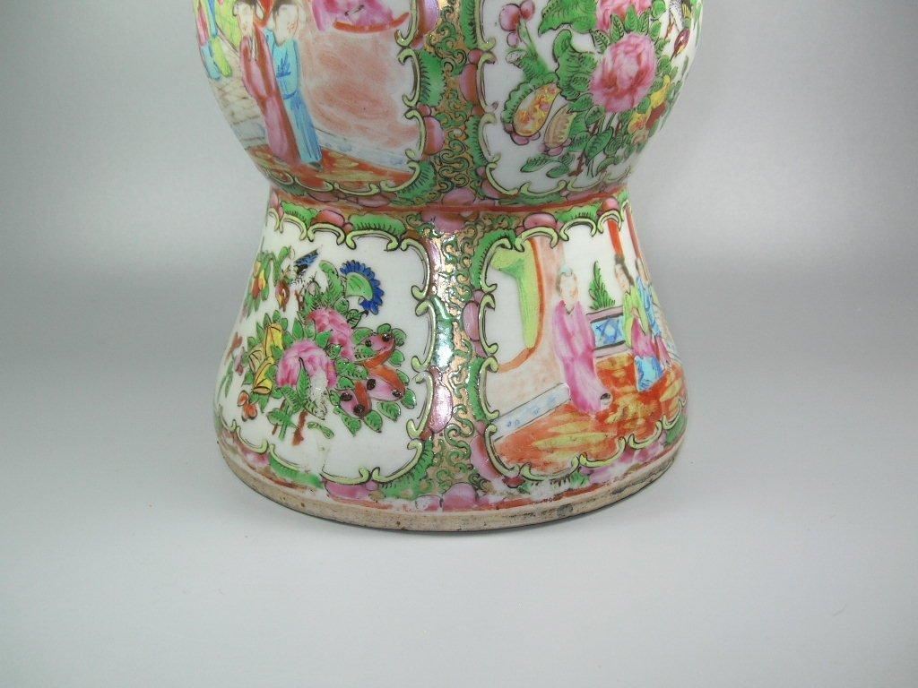 Large Antique Chinese Rose-Medallion Gu-Form Vase - 4