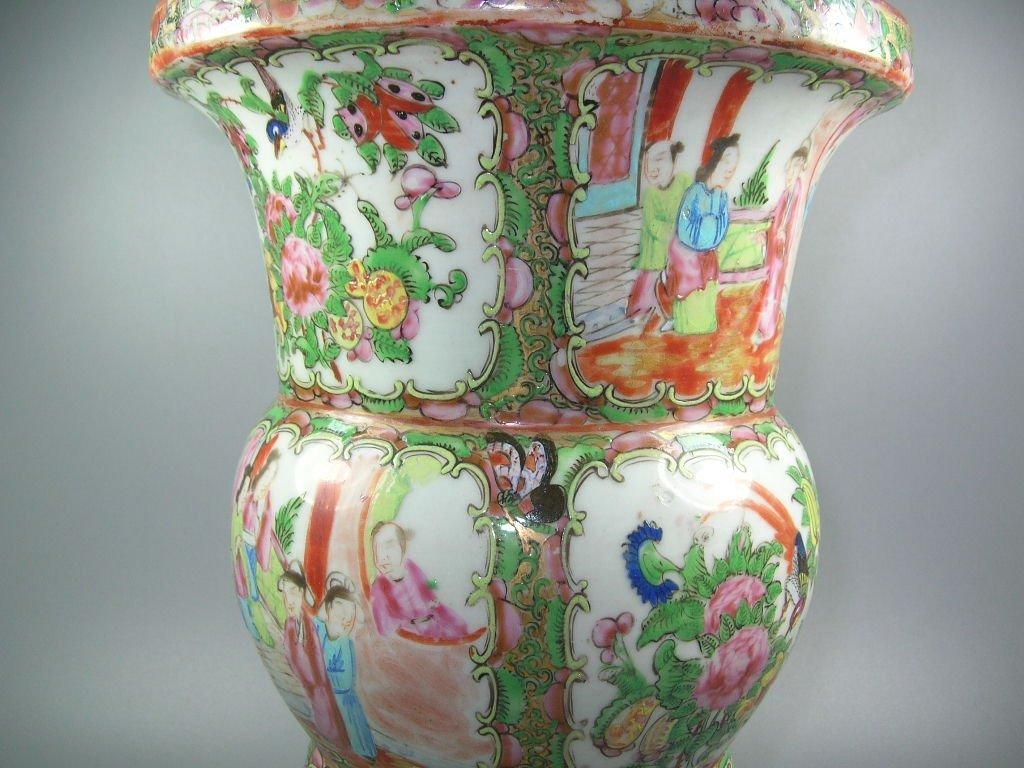 Large Antique Chinese Rose-Medallion Gu-Form Vase - 5