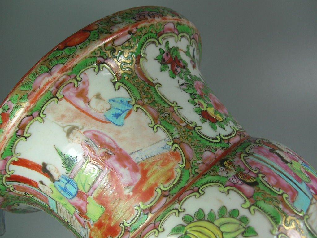 Large Antique Chinese Rose-Medallion Gu-Form Vase - 8