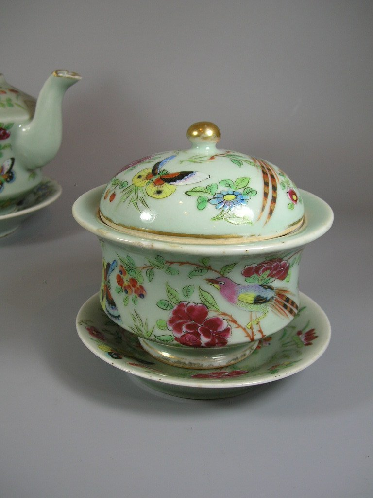 Antique Chinese Famille-Rose Tea Set Qing Dynasty - 5