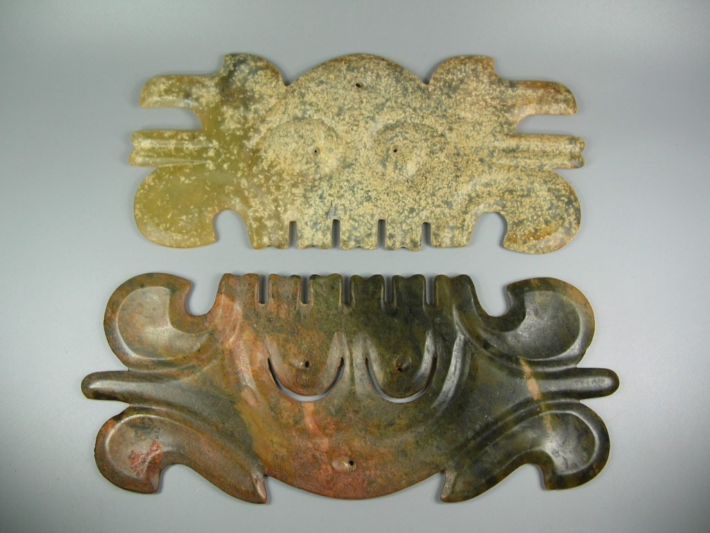 Two Unusual Chinese Hongshan Culture Jade Plaque