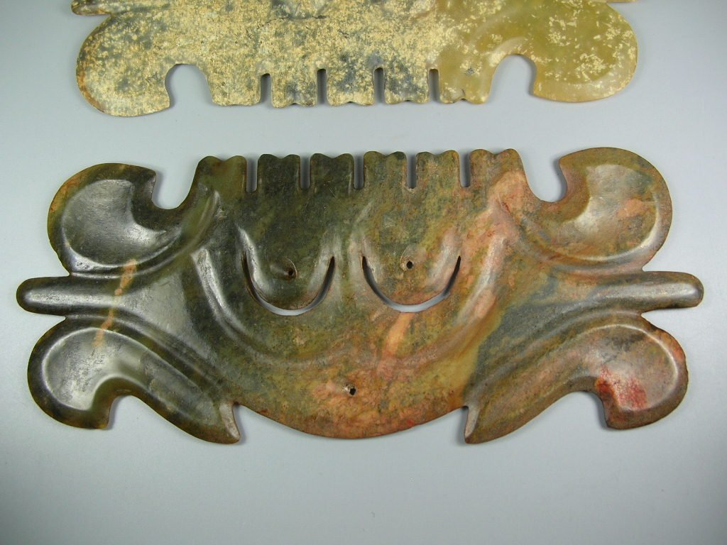 Two Unusual Chinese Hongshan Culture Jade Plaque - 3