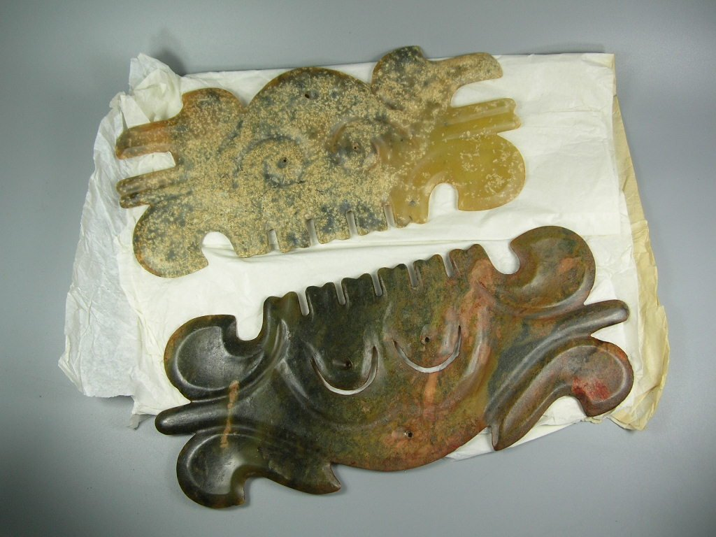 Two Unusual Chinese Hongshan Culture Jade Plaque - 9