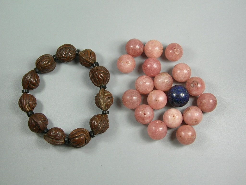 17 Old Tourmaline Beads and a Nut Bead Prayer Bracelet