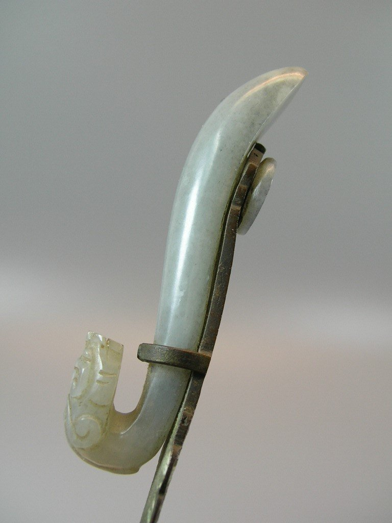 Enameled Copper Letter Opener with Jade Belt hook