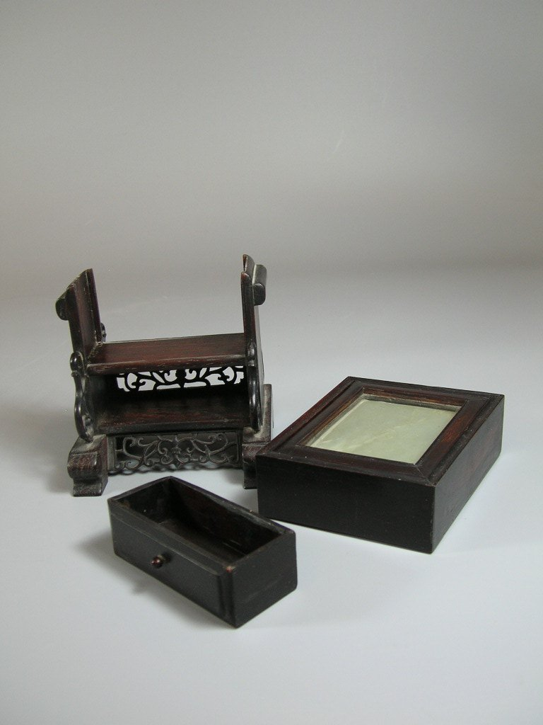 Ming Dynasty Jade Belt Plaque with Hongmu Display Stand - 6