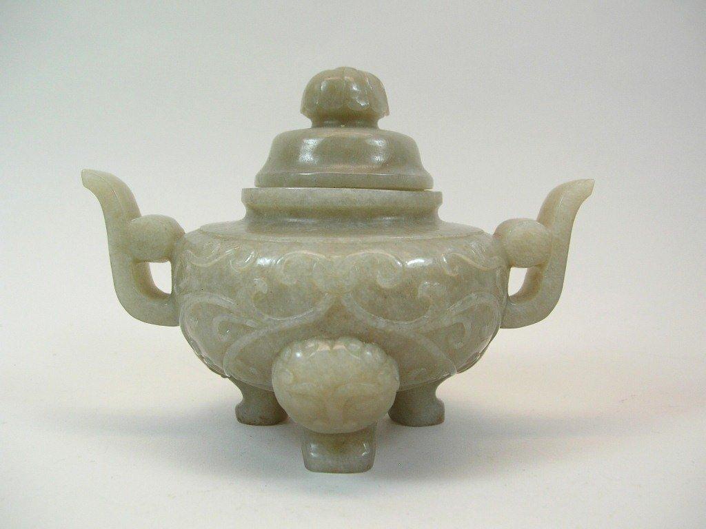 Small Celadon Jade Carved Incense Burner