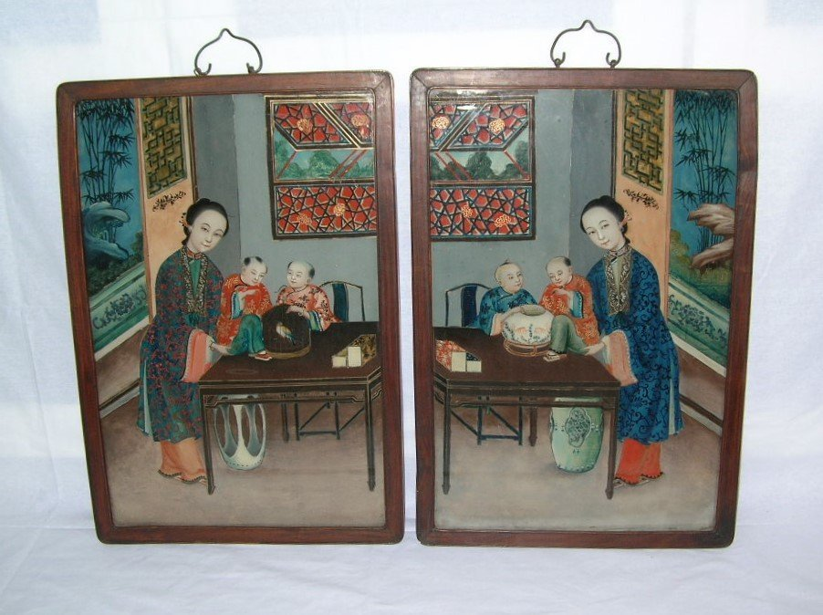Two Chinese Glass Reverse Paintings Qing Dynasty