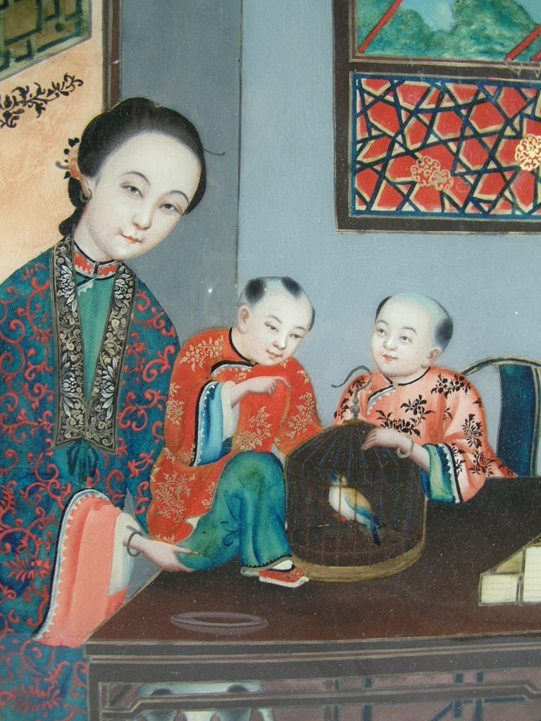 Two Chinese Glass Reverse Paintings Qing Dynasty - 2