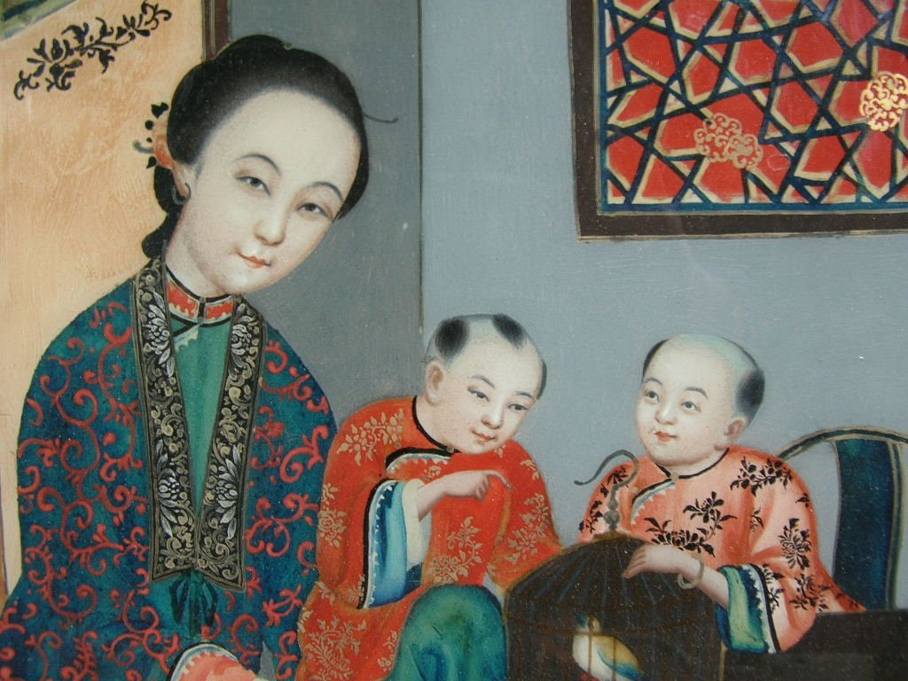 Two Chinese Glass Reverse Paintings Qing Dynasty - 3