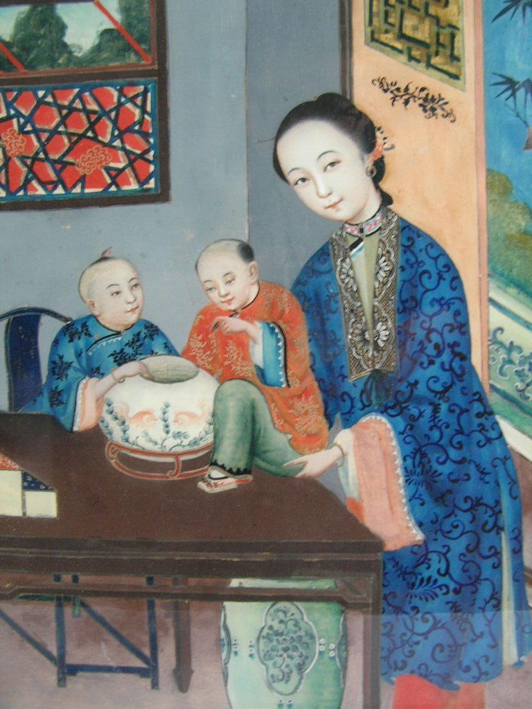Two Chinese Glass Reverse Paintings Qing Dynasty - 4