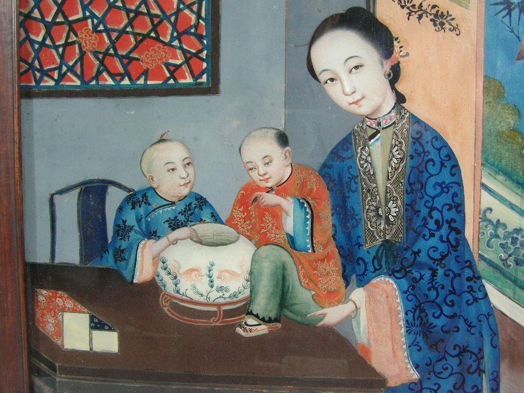 Two Chinese Glass Reverse Paintings Qing Dynasty - 5