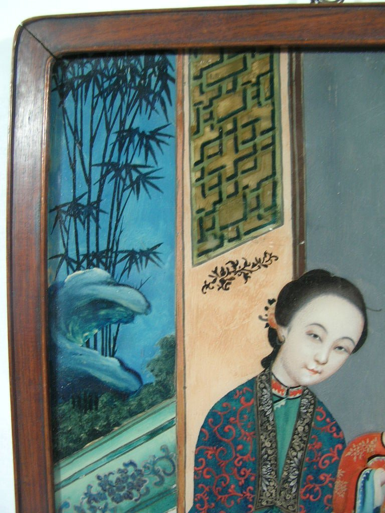 Two Chinese Glass Reverse Paintings Qing Dynasty - 7