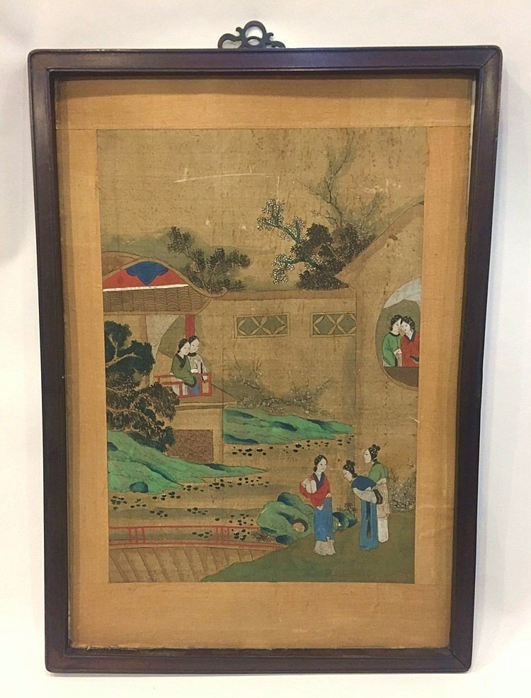 Ming Dynasty Watercolor Painting Framed