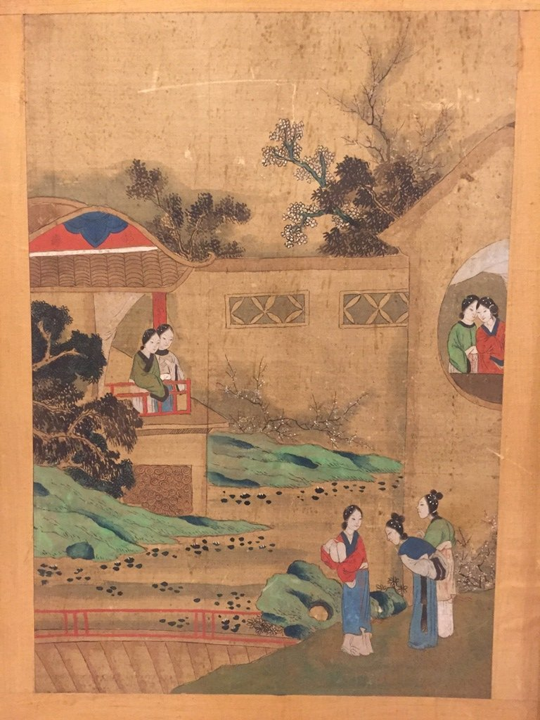 Ming Dynasty Watercolor Painting Framed - 2