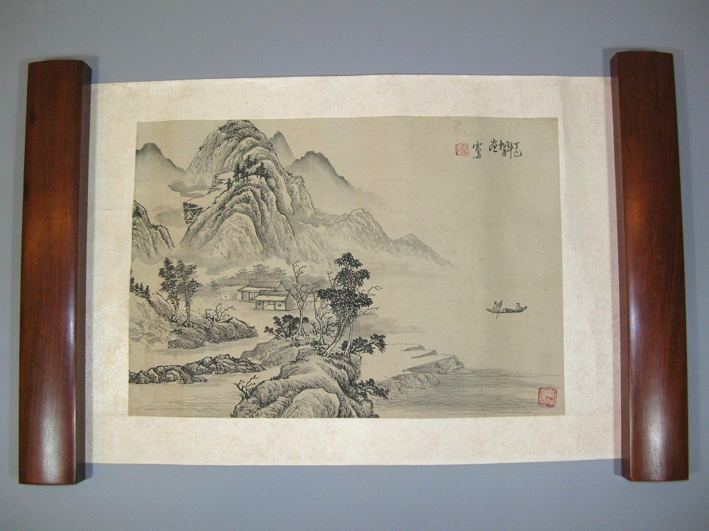Antique Chinese Painting Leaf Landscape - 2