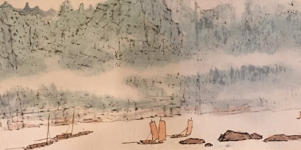 Wu Chengkai Landscape Hand Scroll Watercolor Painting - 6