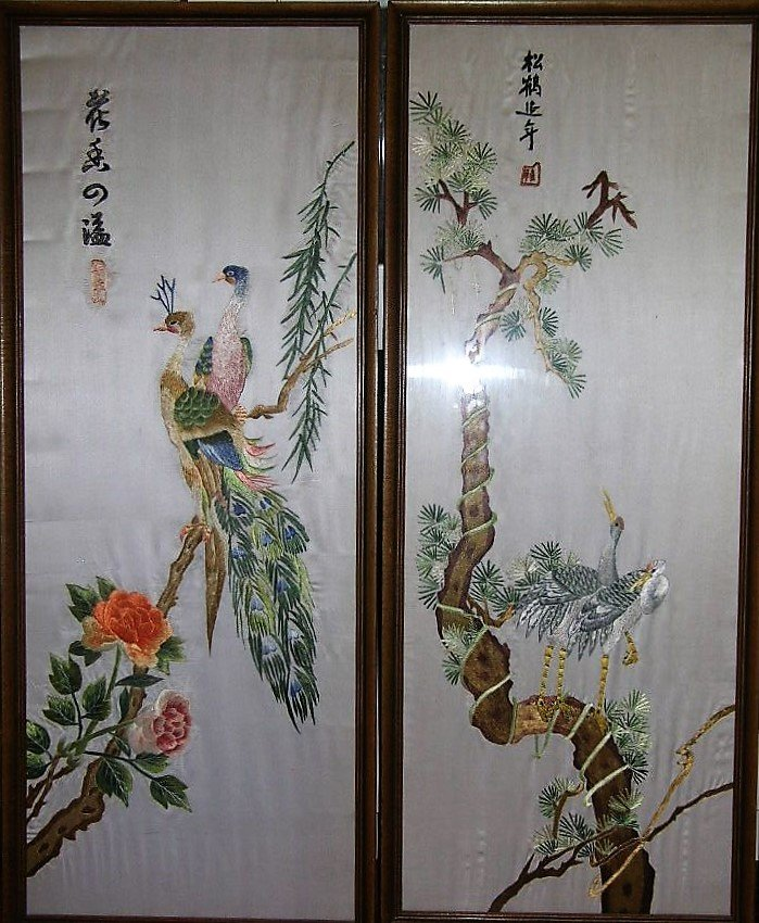 Set of Four Vintage Chinese Silk Embroidery Panels - 2