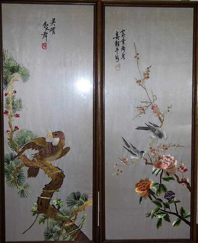 Set of Four Vintage Chinese Silk Embroidery Panels - 3