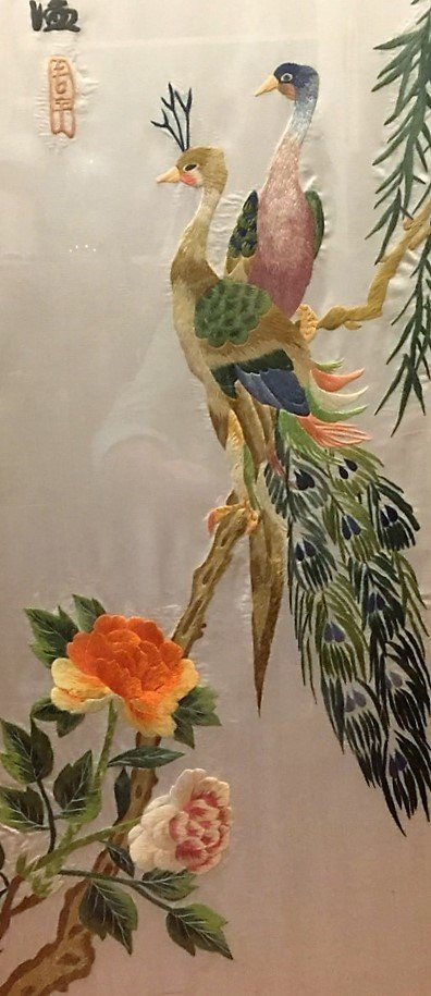 Set of Four Vintage Chinese Silk Embroidery Panels - 5