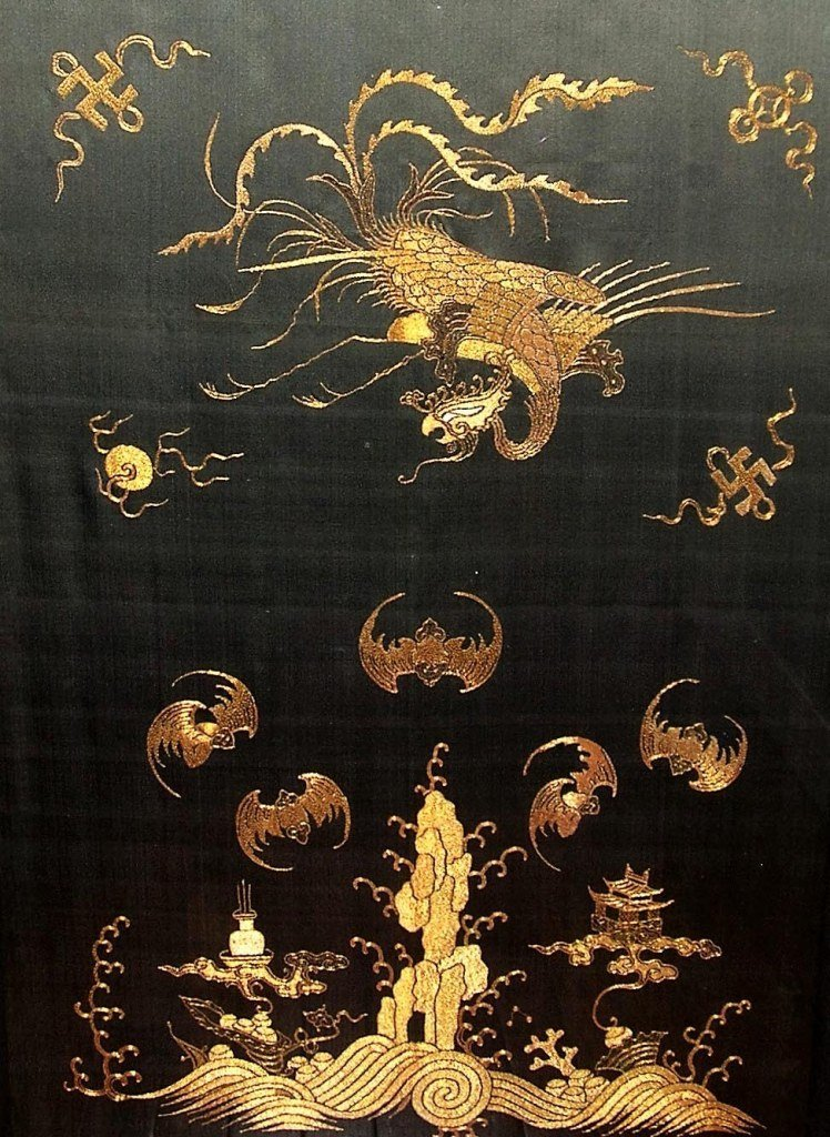 Exquisite Antique Chinese Golden-Thread Embroidery - 8