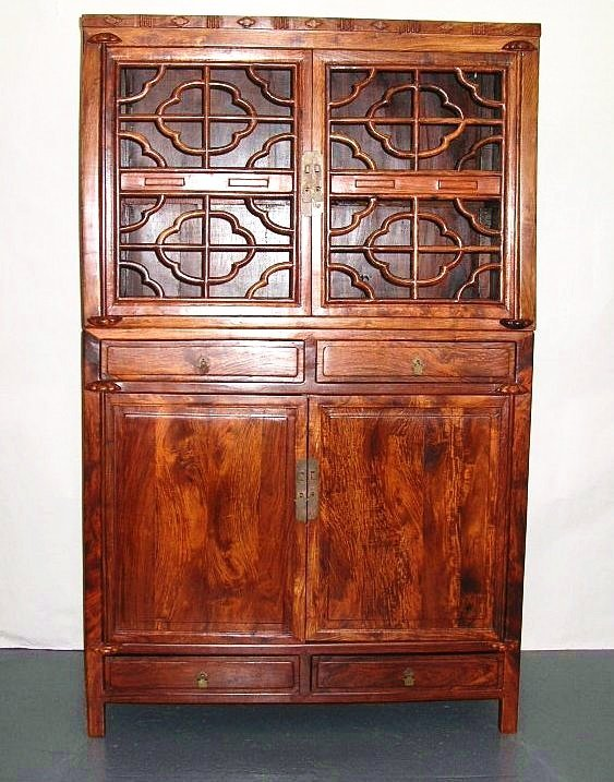 Huanghuali Wood Compound Cabinet with Latticework Doors