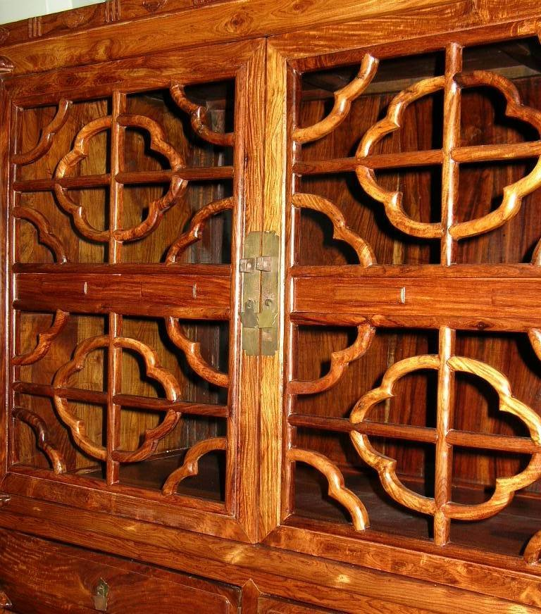 Huanghuali Wood Compound Cabinet with Latticework Doors - 2