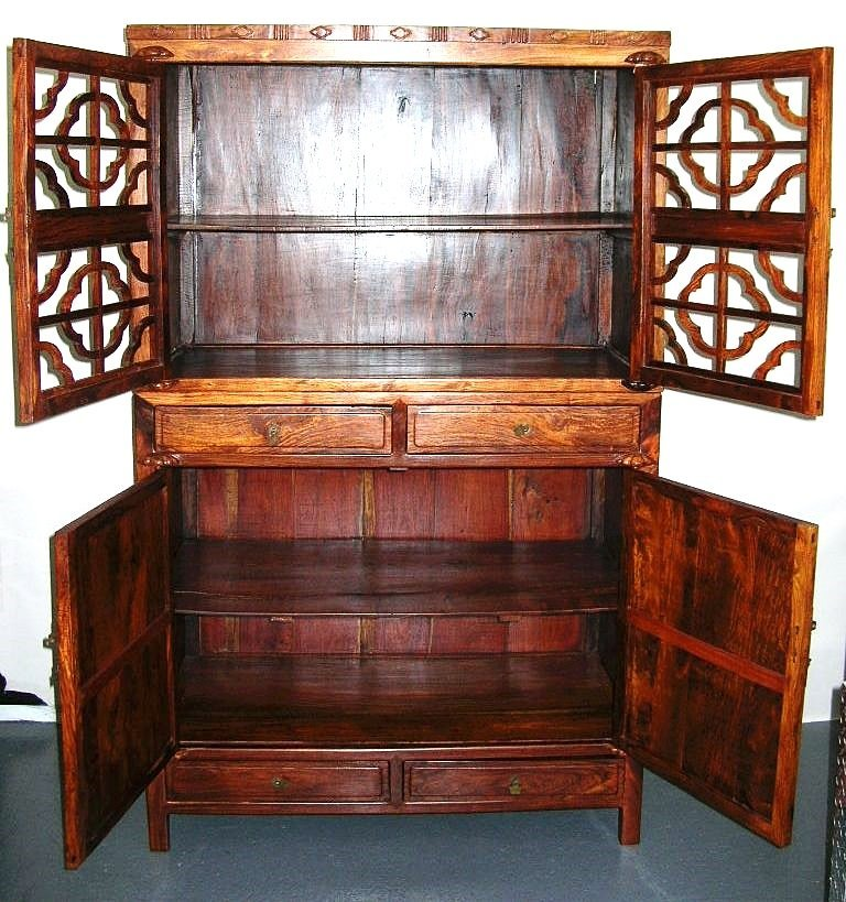 Huanghuali Wood Compound Cabinet with Latticework Doors - 4