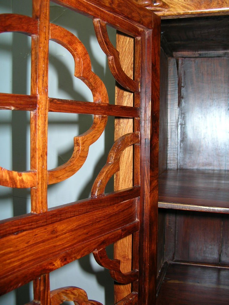 Huanghuali Wood Compound Cabinet with Latticework Doors - 5