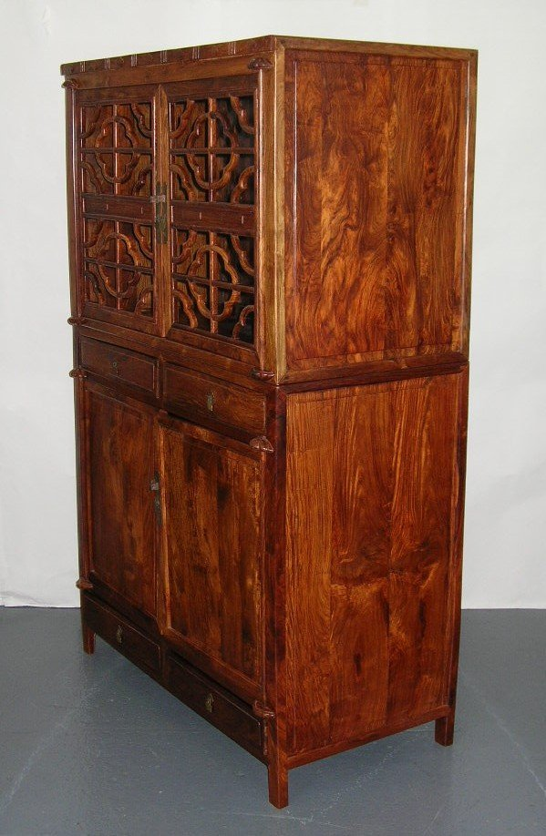 Huanghuali Wood Compound Cabinet with Latticework Doors - 8